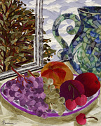 Grape Tapestries - Textiles Metal Prints - Still Life Metal Print by Marina Gershman