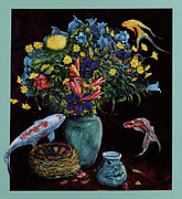 Koi Painting Posters - Still life Nest Mug and Fish Poster by Charles Munn