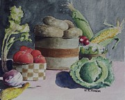 Tomatos Painting Metal Prints - Still life number four Metal Print by W R  Hersom