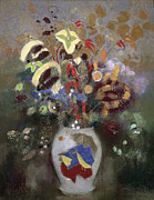 Oriental Metal Prints - Still Life of a Vase of Flowers Metal Print by Odilon Redon