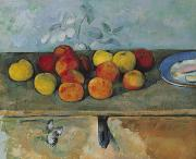 Nature Morte Posters - Still life of apples and biscuits Poster by Paul Cezanne