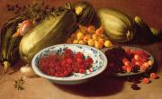 Fruit Bowl Paintings - Still Life of Cherries - Marrows and Pears by Italian School