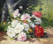 Still Life Paintings - Still Life of Flowers by Eugene Henri Cauchois