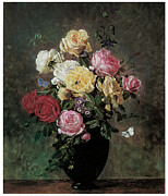Bouquet Of Roses Posters - Still Life of Flowers in a Vase Poster by Olaf August Hermansen