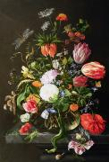 Glass Vase Framed Prints - Still Life of Flowers Framed Print by Jan Davidsz de Heem
