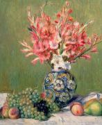 Peaches Painting Metal Prints - Still life of Fruits and Flowers Metal Print by Pierre Auguste Renoir
