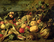 Squirrel Painting Prints - Still Life of Fruits and Vegetables Print by Frans Snyders