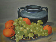 Still Life With Pitcher Framed Prints - Still Life of Oranges and Grapes Framed Print by Margit Armbrust