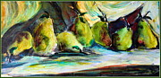 Greens Drawings Framed Prints - Still life of Pears Framed Print by Mindy Newman