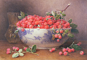 Fruit Bowl Paintings - Still Life of Raspberries in a Blue and White Bowl by William B Hough