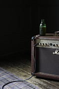 Amplifier Prints - Still Life Of  Retro Amplifier  With Open Bottle O Print by Paul Viant
