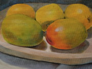 Wooden Bowl Paintings - Still life of ripe mangos in a wooden bowl by Walt Maes