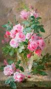 Floral Paintings - Still life of roses in a glass vase  by Frans Mortelmans