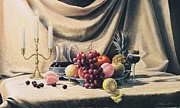 Wine Holder Painting Framed Prints - Still Life on a gold Framed Print by Oleg Bylgakov