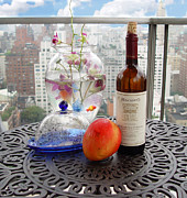 Wine-bottle Prints - Still Life on Balcony  Print by Madeline Ellis
