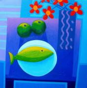Fish Print Posters - Still Life On Table Poster by John  Nolan