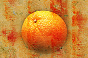 Fruit Still Life Mixed Media Posters - Still Life Orange Abstract Poster by Andee Photography