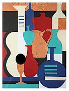 Jugs Posters - Still life paper collage of wine glasses bottles and musical instruments Poster by Mal Bray