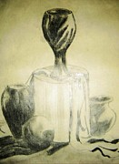 Pots Drawings Prints - Still life pots Print by Essie Nyanganyi