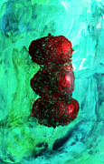 Still Life Red Apples Stacked On Green Table And Wall Fruit Is About To Topple Smush Impressionistic Print by M Zimmerman MendyZ
