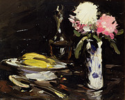 Vase Painting Metal Prints - Still Life Metal Print by Samuel John Peploe
