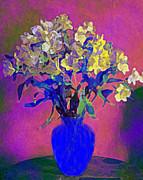 Flower Display Digital Art Posters - Still Life Vase of Flowers No 2 Poster by Kate Farrant