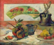 Fruit Still Life Framed Prints - Still Life with a Fan Framed Print by Paul Gauguin