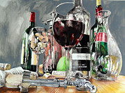 Cork Screw Paintings - Still life with a glass of red wine. by Lorand Sipos