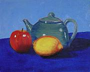 Teapot Painting Originals - Still Life With a Green Teapot by Teresa Boston