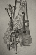 Acoustic Guitar Drawings - Still Life with a Guitar by Nadja Pilitsyna