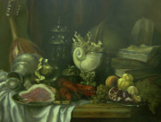 Still Life With Old Pitcher Painting Posters - Still-life with a lobster Poster by Tigran Ghulyan
