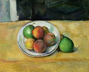 Table Cloth Framed Prints - Still Life with a Peach and Two Green Pears Framed Print by Paul Cezanne
