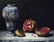 Tablecloth Framed Prints - Still Life with a Pomegranate Framed Print by Auguste Theodule Ribot