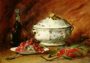 Wine Bottle Painting Metal Prints - Still Life with a Soup Tureen Metal Print by Guillaume Romain Fouace