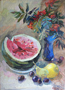 Modern Russian Art Posters - Still life with a water melon Poster by Juliya Zhukova