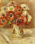 Red Flower Paintings - Still Life with Anemones  by Pierre Auguste Renoir