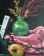 Apple Painting Originals - Still Life with Apple  Book and Vase by Aleksandra Buha