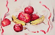 Fruit Still Life Framed Prints - Still Life with Apples and Bananas Framed Print by Charles Demuth