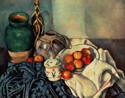 Fruit Still Life Metal Prints - Still Life with Apples Metal Print by Paul Cezanne