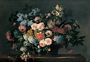 Carnation Painting Metal Prints - Still life with basket of flowers Metal Print by Jean-Baptiste Monnoyer