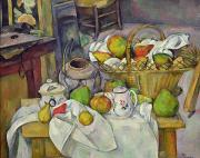 Fruit Still Life Posters - Still life with basket Poster by Paul Cezanne