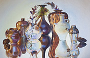Jugs Painting Prints - Still Life With Bay Leaves Print by Gilly  Marklew