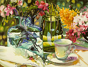 Sunlight Art - Still Life with Blue and Green Vases by Gina Blickenstaff