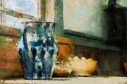 Drawers Posters - Still Life With Blue Jug Poster by Lois Bryan