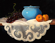 Apricots Originals - Still life with Blue Pot by Mary Phelps