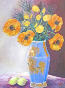 Barbara Anna Knauf Posters - Still  Life with Blue Vase Poster by Barbara Anna Knauf