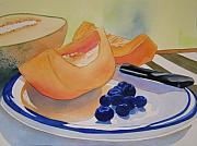 Cantaloupe Painting Prints - Still Life with Blueberries Print by Teresa Boston