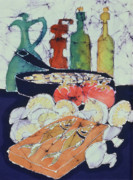 Eat Tapestries - Textiles Prints - Still Life with Blues Print by Carol  Law Conklin