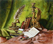 Antiques Paintings - Still life with books 2 by Irek Szelag