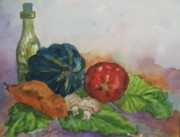 Acorn Squash Posters - Still Life with Bottle Poster by Ellen Levinson